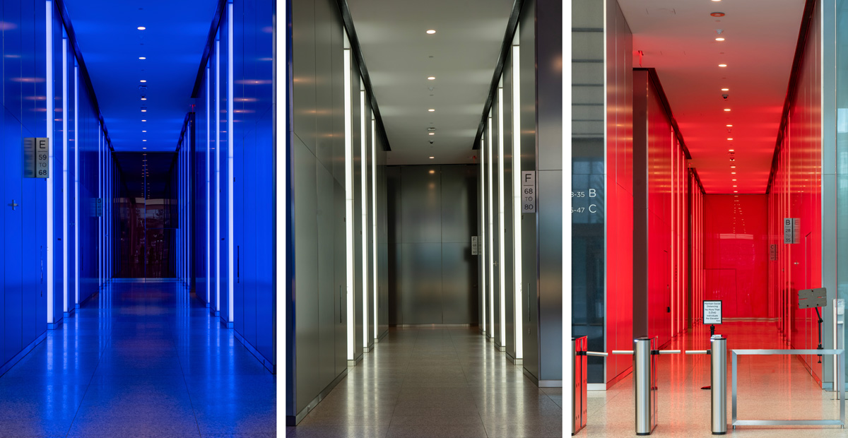 Apogee Lighting solution in 3 World Trade Center Lobby enables Red, White and Blue Accent